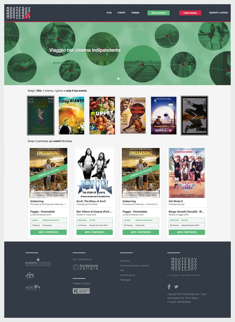 Homepage del sito Movieday
