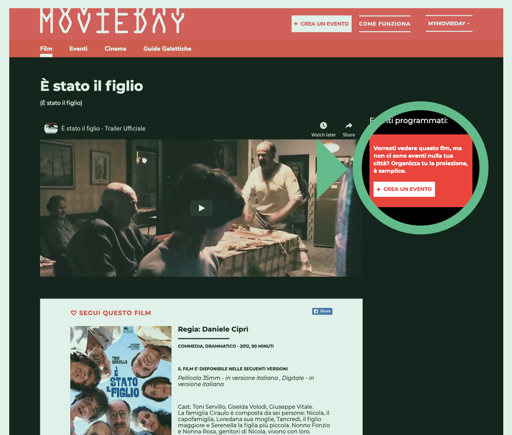 Crea un evento Movieday da uno dei film in catalogo