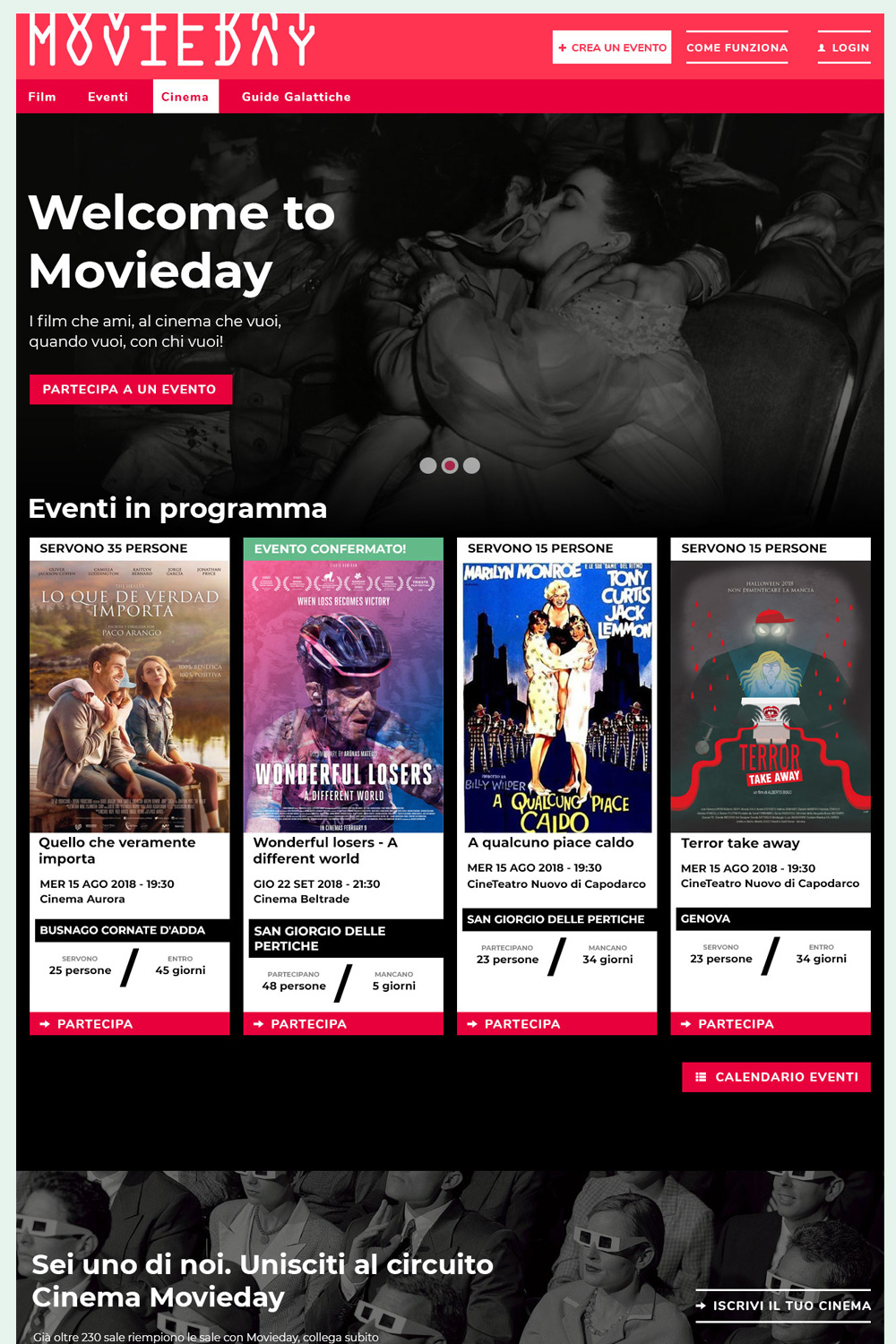 Homepage Movieday - Design by Eleonora Viviani
